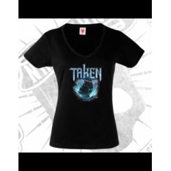 Camiseta Manga Corta Cuello V Mujer (Negra)